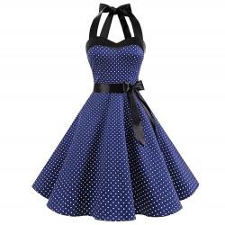 Vintage sznurowana sukienka w kropki