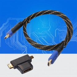 1m - 3m - multifunctional mini HDMI to micro HDMI cable with mini adapter - set