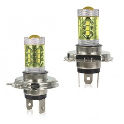 80W - H1 H3 H4 H7 H8 9005 9004 / 4300K LED 2835 - Ampoule 12V - Phares antibrouillard jaunes - Phares - 2 pièces