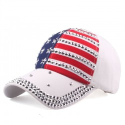 Czapka z daszkiem z flagą USA & metalowymi kolcami - unisex
