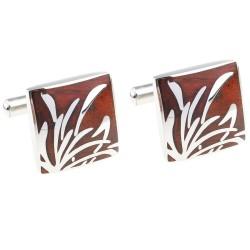 Eleganckie kwadratowe spinki do mankietów z drzewa różanego