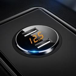 Cargador de coche universal USB dual 3.6A con pantalla LED