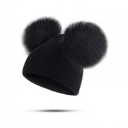 Dziecięca czapka zimowa z futrzanym pomponem
