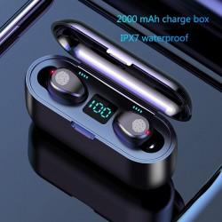 V5.0 F9 TWS draadloze Bluetooth-oortelefoon - LED-display - 2000 mAh powerbank - hoofdtelefoon met microfoon