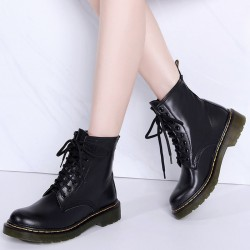 Genuine leather with warm plush - women's boots - rubber sole - autumn - winter