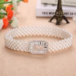 Elegante elastische riem met parels en kristallen