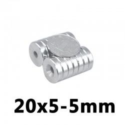 Anello magnetico svasato al neodimio N35 - foro 20 * 5 - 5mm - 5 pezzi