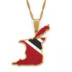 Naszyjnik flaga Trinidad & Tobago - złoty naszyjnik