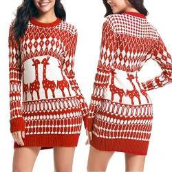 Świąteczny długi sweter - mini sukienka