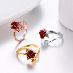 Złoty & srebrny pierścionek z czerwoną różą - regulowany