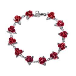 Złoto-srebrna bransoletka z czerwonymi różami