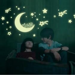 Sterne & Mond & Galaxie - leuchtende fluoreszierende Aufkleber