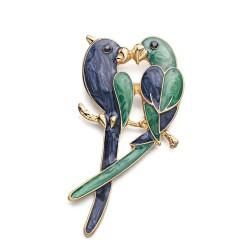 Podwójne papugi - elegancka broszka