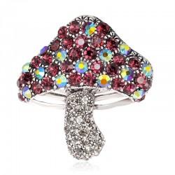Paddestoel met kleurrijke kristallen - broche