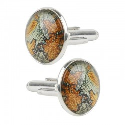 World map - silver cufflinks