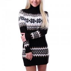 Zimowy długi sweter - mini sukienka z golfem