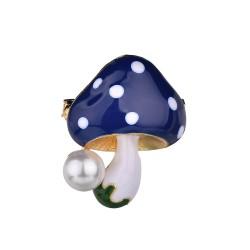 Grzybek z perłą - elegancka broszka