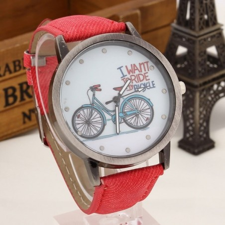""""""" I want to ride my bicycle """" Quartz watch"""