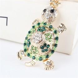 Zielony kryształowy żółw - brelok do kluczy