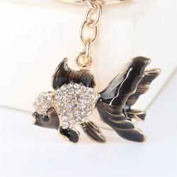 Kristal met gouden vis - sleutelhanger