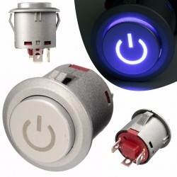 Chwilowy przełącznik 12V LED 22mm - wodoodporny - rozruch silnika samochodu - metal