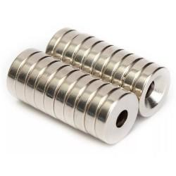 Aimant néodyme N50 - encastré avec trou de 4 mm - 12 * 3 mm - 20 pièces