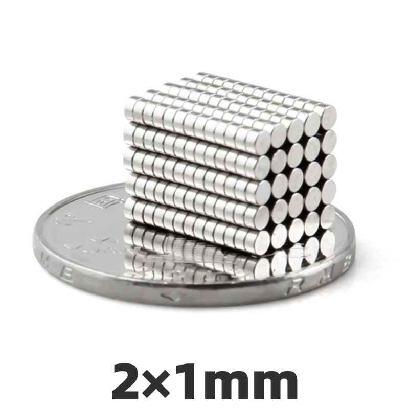 N50 Neodymium cylinder magnet 2 * 1mm - 100 pieces