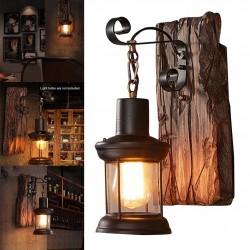 Vintage - drewniany kinkiet - światło LED