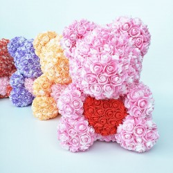 Rose bear - bear made from infinity roses with heart - 25cm - 35cm