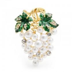 Kryształowe winogrona z perełkami - elegancka broszka