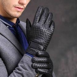 Ciepłe zimowe rękawiczki z prawdziwej skóry