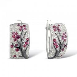 Kwiaty róży - luksusowe kolczyki z cyrkonią