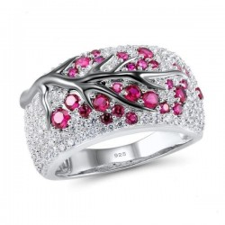 Roze bloemen - luxe zilveren ring met zirconia