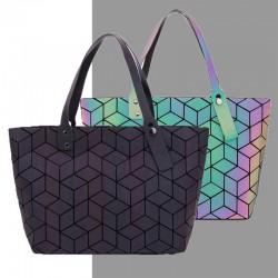 Geometria z cekinami - lustrzana świecąca torebka