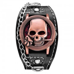 Quartz watch with skull - leather strap - unisex
