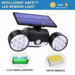 30 LED - podwójna lampa solarowa - reflektor - czujnik ruchu PIR - regulowany kąt świecenia - wodoodporny
