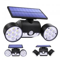 30 LED - Doppelkopf-Solarlampe - Scheinwerfer - PIR-Bewegungssensor - einstellbares Winkellicht - wasserdicht