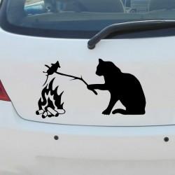Chat avec souris - Autocollant de voiture en vinyle 3D