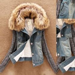 Modna dżinsowa & polarowa krótka kurtka z odpinanym futrzanym kołnierzem