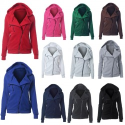 Casual short jacket with hood & zipper - plus size