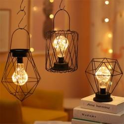 Latarnia z kutego żelaza w stylu vintage - lampka nocna - lampa stołowa LED