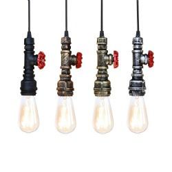 Przemysłowa żelazna rura wodna - lampa vintage z kablem - E27 LED