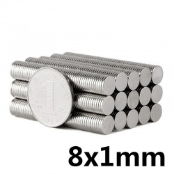 N52 Aimant cylindre néodyme 8 * 1mm 50 pièces