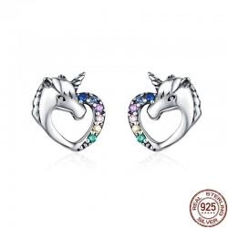 Kryształowy jednorożec w kształcie serca - srebrne kolczyki