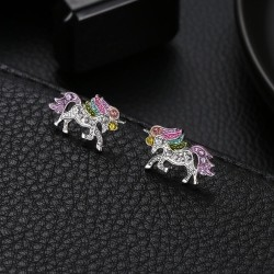 Crystal unicorn - silver & gold earrings