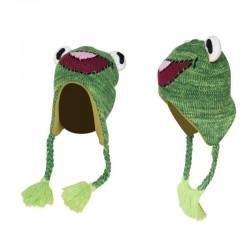 Mała żabka - ciepła czapka dziecięca z nausznikami & frędzlami