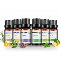 10 ml * 6 - Huiles essentielles pour humidificateur - lavande - arbre à thé - citronnelle - romarin - orange - menthe poivrée