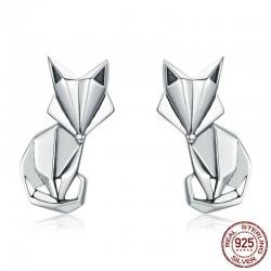 Geometrische vos - modieuze zilveren oorbellen