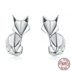 Zorro geométrico - pendientes de plata de moda