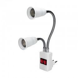 E27 - AC85-265V - podwójna głowica - elastyczna podstawa lampy - konwerter - uchwyt żarówki